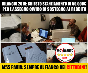 M5S Pavia chiede 50.000€ per l'Assegno Civico di Sostegno al reddito